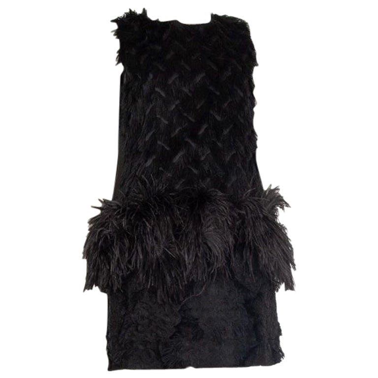 LANVIN black SLEEVELESS FRAYED FIL COUPE OSTRICH FEATHER Mini Dress 38 S