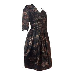 1950s Brown Black and Taupe Silk Floral Party Dress w/ Overskirt