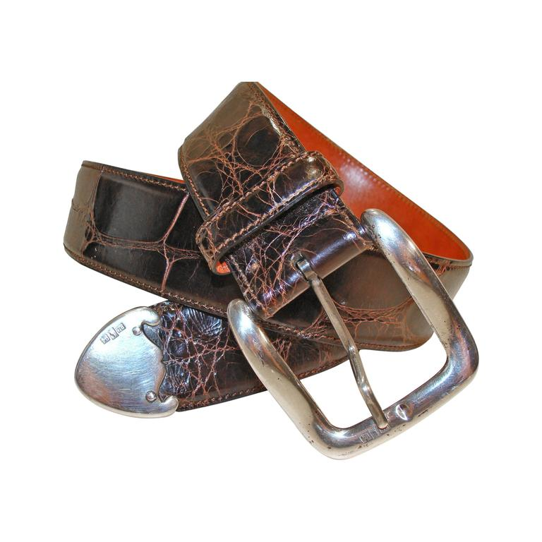 Ralph Lauren Brown Alligator Belt with Sterling Silver Buckle and  Escutcheons at 1stdibs a6c1786e0187a