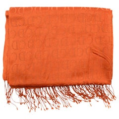 Christian Dior Vintage 'CD' Monogram Orange Silk Scarf