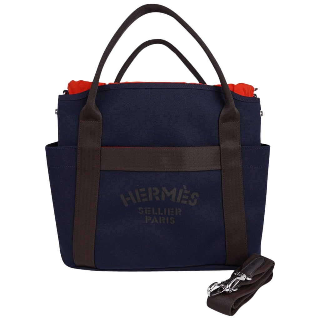 Hermes Tote Sac de Pansage The Grooming Bag Navyi / Feu new
