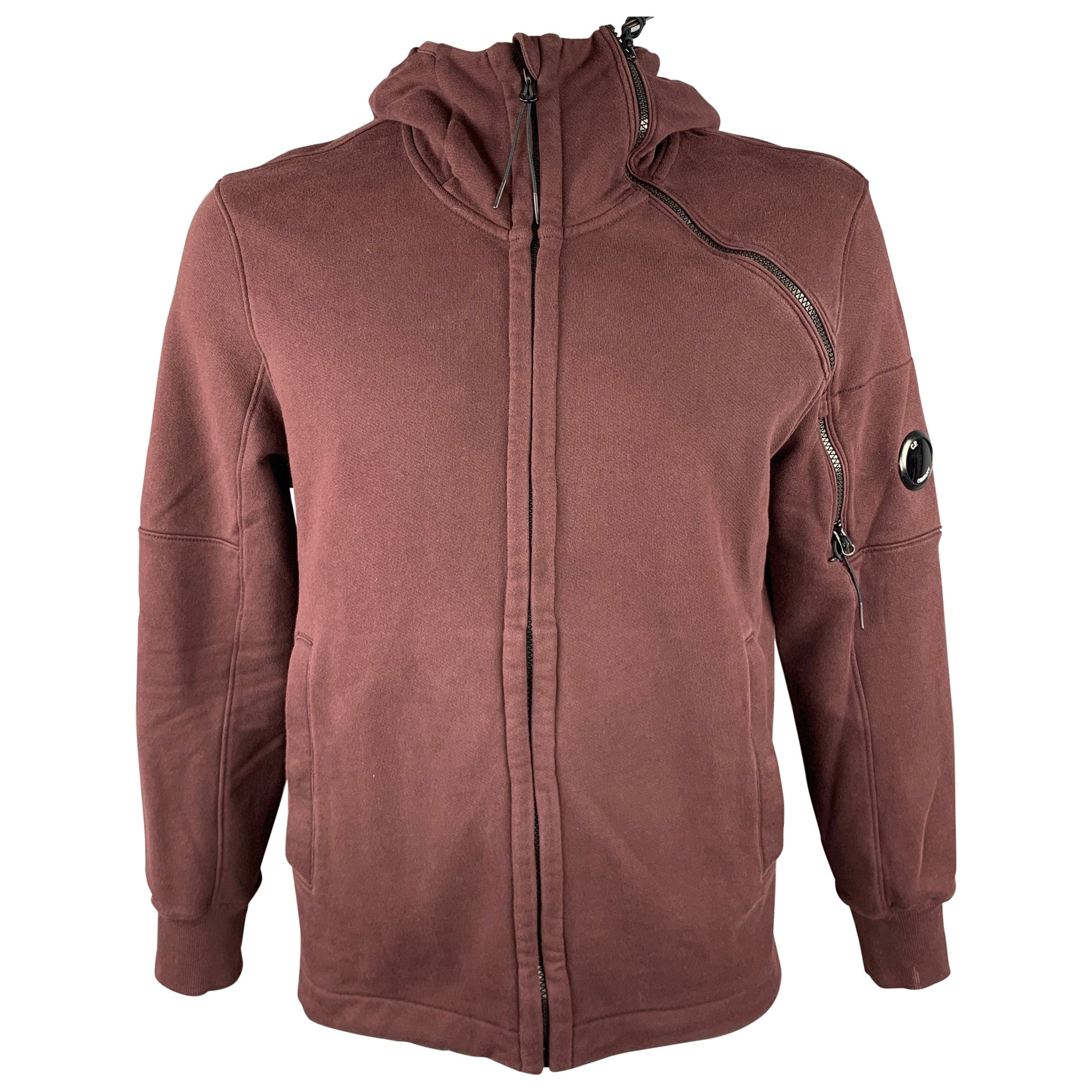 CP COMPANY Size XL Dark Burgundy Cotton Lens Detail Hooded Jacket