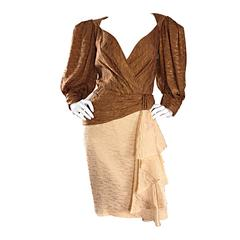 Vintage Paul - Louis Orrier Demi Couture Copper + Ivory Silk Plunge Ruffle Dress