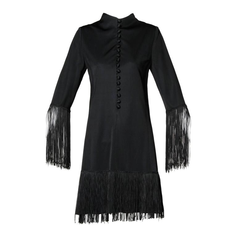 Victor Costa for Lord & Taylor 1960s Black Mod Fringe Cocktail Dress