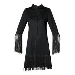 Victor Costa for Lord & Taylor 1960s Black Mod Fringe Cocktail Dress
