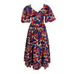 1976 Yves Saint Laurent Floral-Print Cotton Peasant Blouse & Belted Skirt Set