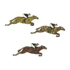 Art Deco Rare Thoroughbred Race Horse and Jockey Brooch Pins