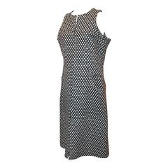 Chanel Navy & White Tweed Sleeveless Shift Dress with Front Zipper & Pockets - 4