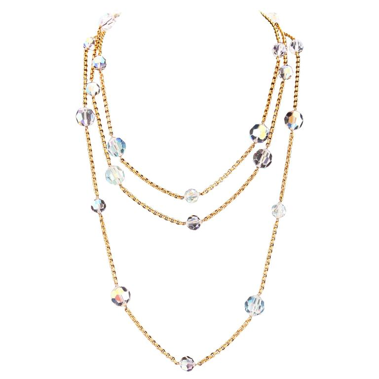 Chanel Gold Tone Chain & Faceted Crystal Bead Necklace Sautoir Ca.1993