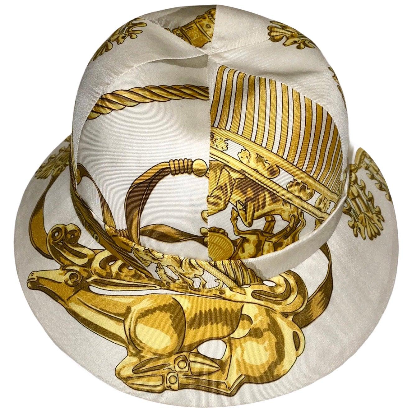 "Unique HERMES Printed Silk Structured Safari Hat ""Cavaliers d'Or"""