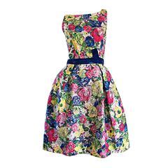 Exquisite 1950s 50s Demi Couture Floral Watercolor Vintage Silk Dress w/ Sequins