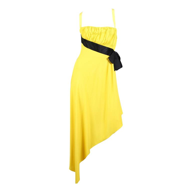 Chanel Yellow Chiffon High Slit Dress For Sale