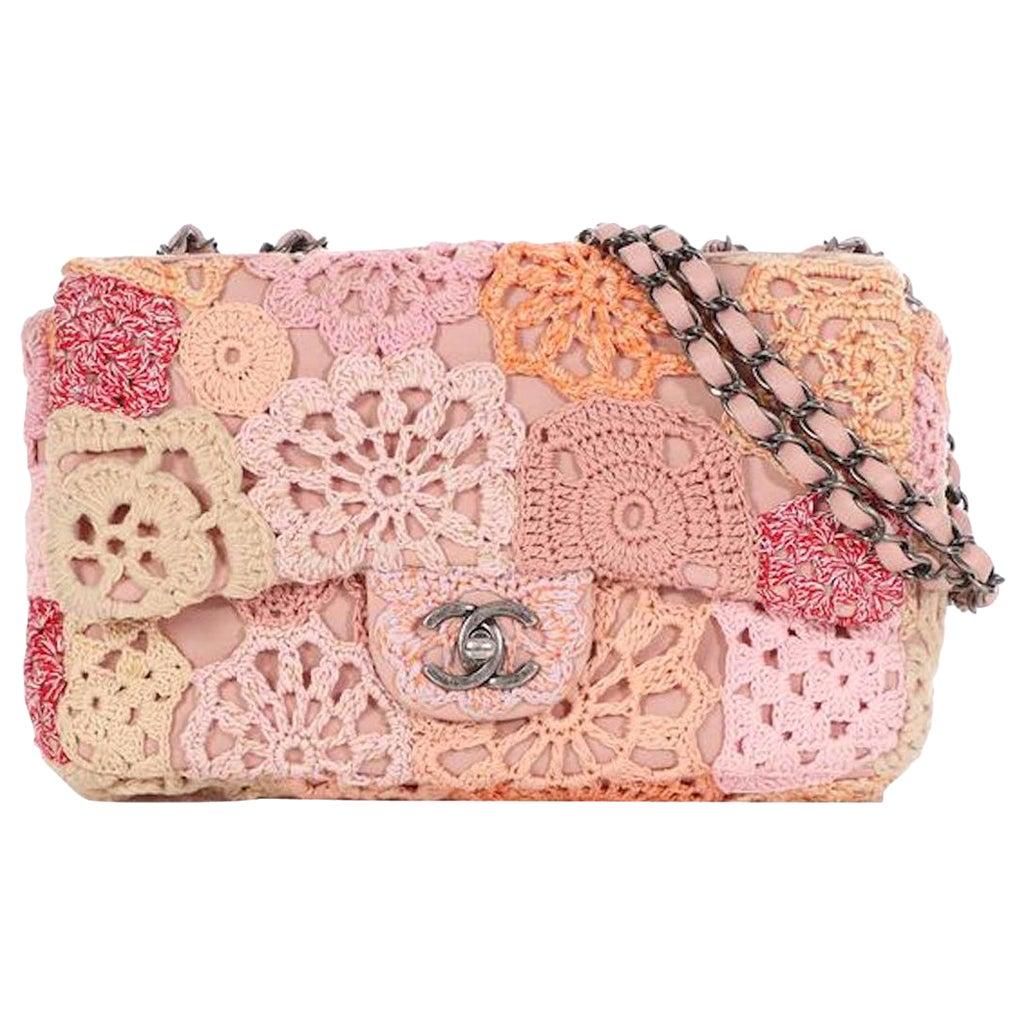 Chanel Pink Flower Multi Color Crochet Leather Medium Evening Shoulder Flap Bag