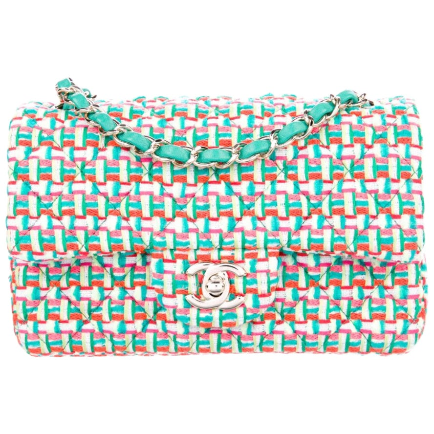 Chanel Green White Pink Tweed Gold Small Mini Evening Flap Shoulder Bag