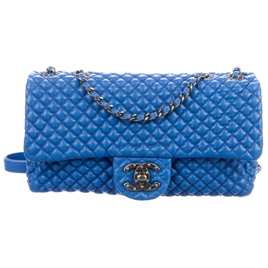 Chanel NEW Blue Bubble Leather Gunmetal Medium Evening Shoulder Flap Bag