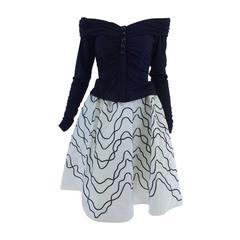 Victor Costa navy jersey draped top & paper taffeta applique full skirt 1980s