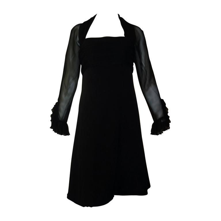 1980s Jarin by Ruben Pannis Delightful Little Black Dress (10) For Sale