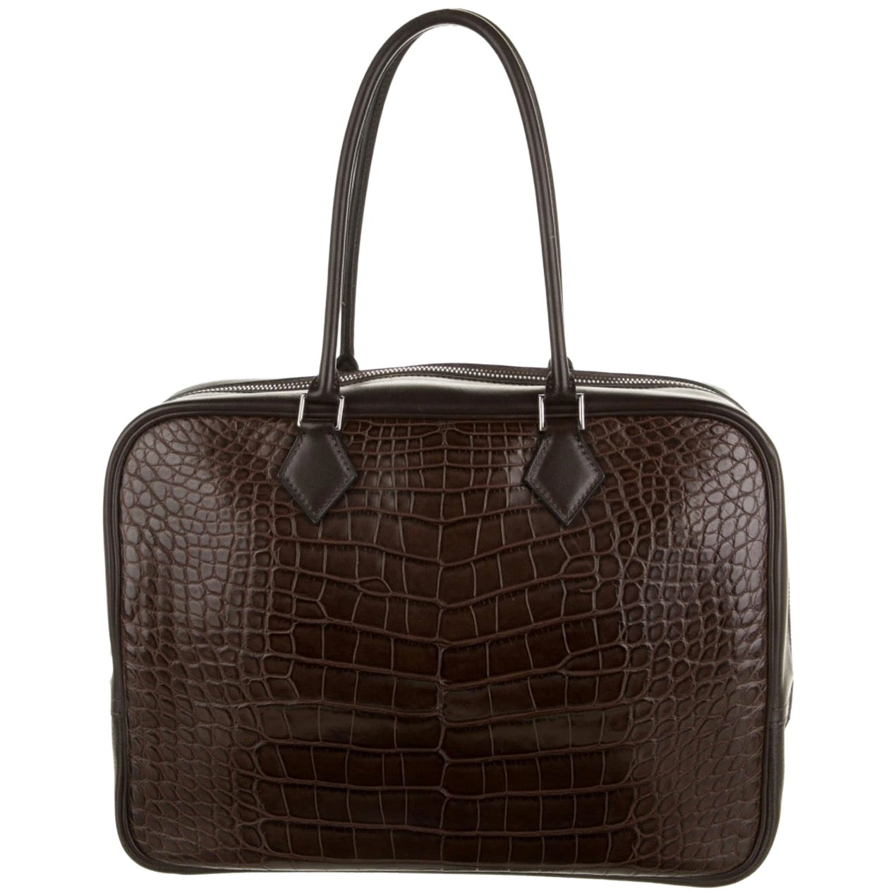 Hermes Choc Brown Alligator Exotic Skin Large Evening Top Handle Satchel Bag