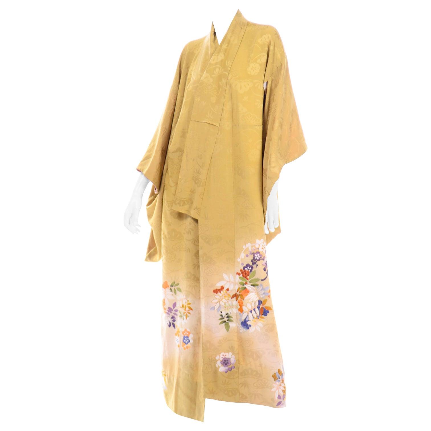 Vintage Marigold Yellow Silk Iro Tomesode Kimono Embroidered and Hand Painted