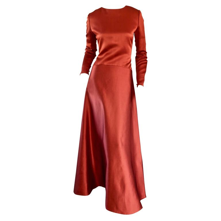 Exceptional Vintage Bill Blass Copper Long Sleeve Silk Satin Evening Gown  For Sale