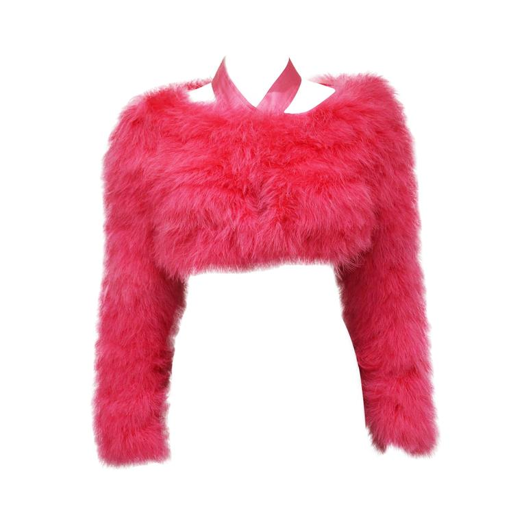Tom Ford for Gucci Hot Pink Marabou Bolero, c. 2004 For Sale