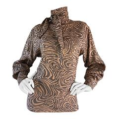 Chic Vintage St. John Zebra Animal Print Swirl Dolman Sleeve Silk Scarf Blouse