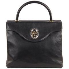 KARL LAGERFELD Black Leather HANDBAG Top Handle Bag FLAP PURSE Satchel