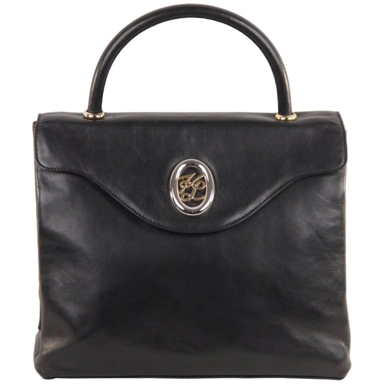KARL LAGERFELD Black Leather HANDBAG Top Handle Bag FLAP PURSE Satchel
