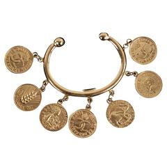 CHANEL Vintage Gold Metal BANGLE BRACELET w/ Signature COIN CHARMS w/ BOX