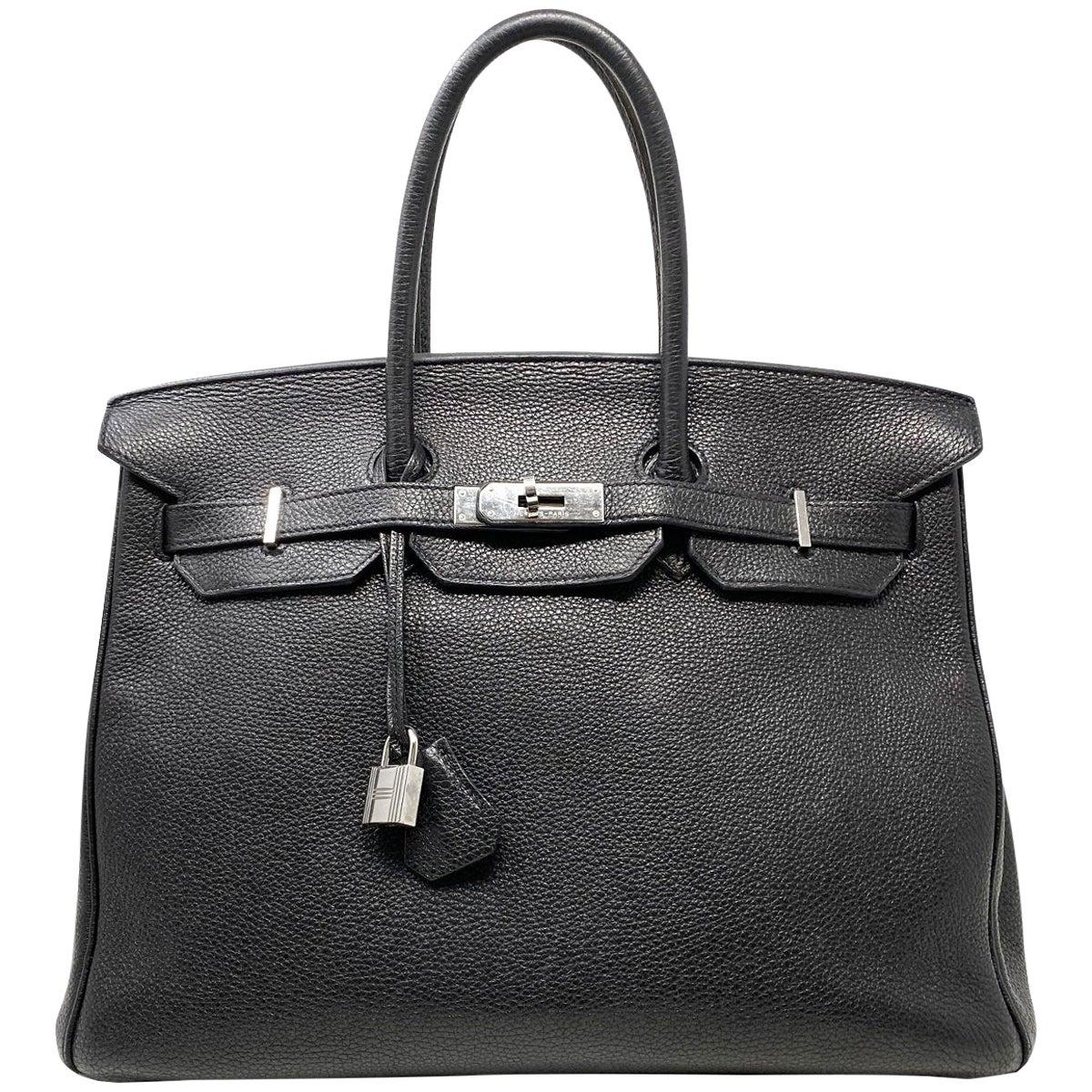 Hermes Birkin 35 Bag Togo Black Leather Palladium Hardware Top Handle Handbag