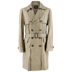 Cloak Green Leather Trench Coat - Size M