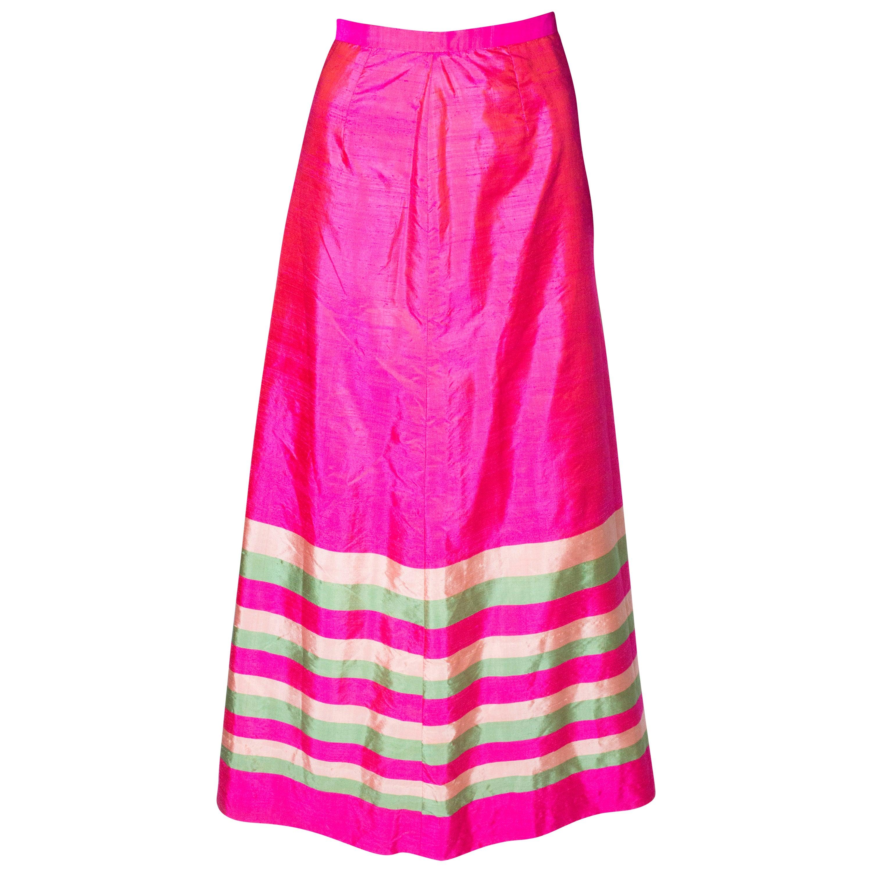 Vintage Pink Silk Stripe Skirt