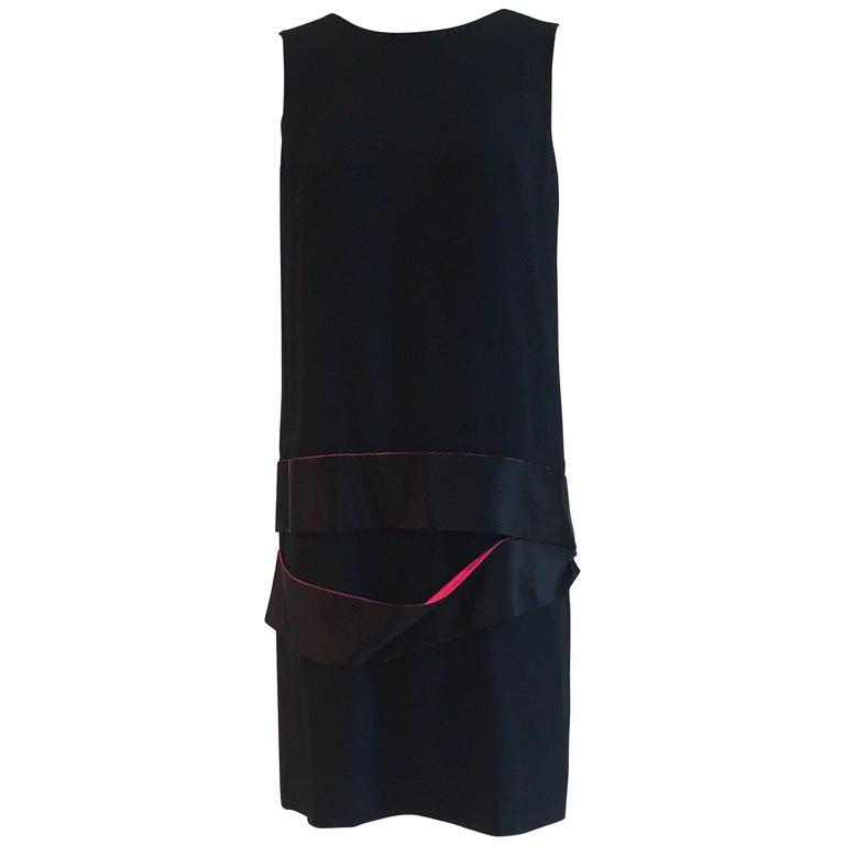 Alexander McQueen 2008 Black Drop Waist Dress with Pink Silk Band Detail For Sale