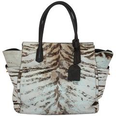 Reed Krakoff Brown and Cream Pony Hair Zebra Print Tote