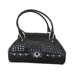 Judith Leiber Black Crocodile Shoulder Bag - SHW