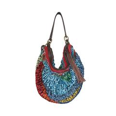 Diane von Furstenburg Woven Multicolor Metallic Leather Hobo Shoulder Bag