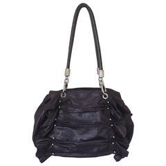 Stella McCartney Deep Purple Cracked Suede Ruched Shoulder Bag