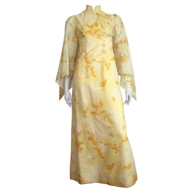 Alfred Shaheen Yellow Floral Maxi Gown Size 4