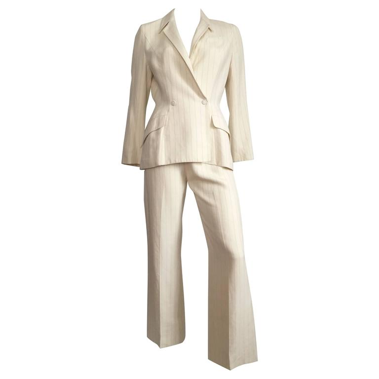 Thierry Mugler Striped Cream Linen Suit, Size 6