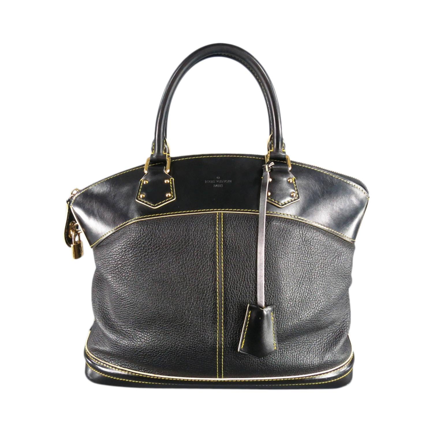 Louis Vuitton Black Leather Cuir Suhali Yellow Stitching