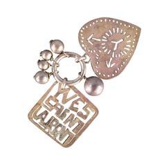 Vintage YVES SAINT LAURENT Silver Charm Heart Love Keychain Pendant