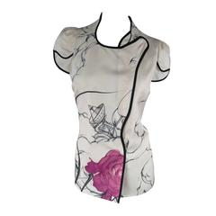PRADA Size 6 Cream Fairy Graphic Silk Asymmetrical Snap Blouse Spring 2008