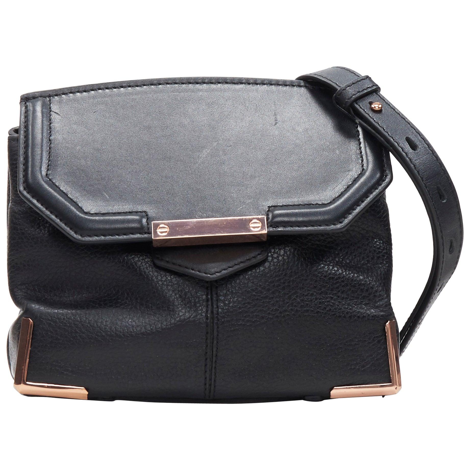 ALEXANDER WANG Prism black leather copper hardware flap shoulder bag