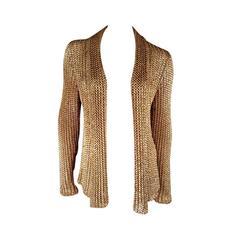 RALPH LAUREN COLLECTION Size L Metallic Gold Mesh Knit Shawl Collar Cardigan