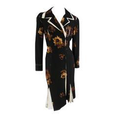 PRADA Size 6 Black Brown Floral Stretch Silk Crepe Shirt Dress
