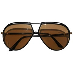 1980s Yves Saint Laurent Red injected aviator sunglasses