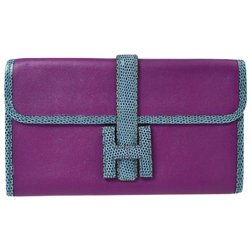 Hermes Blue Purple Lizard Exotic Leather 'H' Logo Wallet Clutch Bag in Box