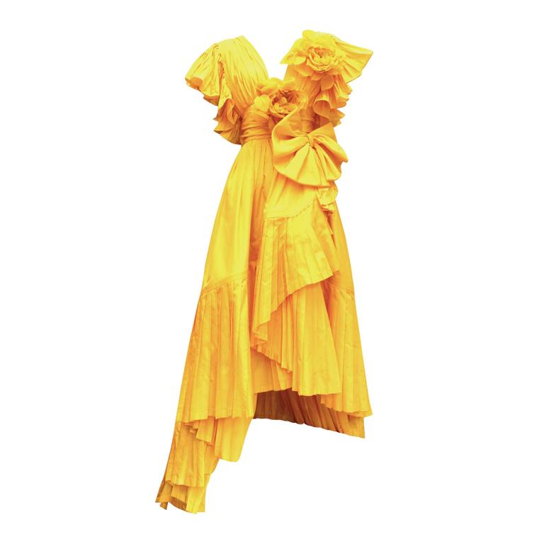 1975s Nina Ricci Haute Couture Yellow Taffetas Evening Dress 1