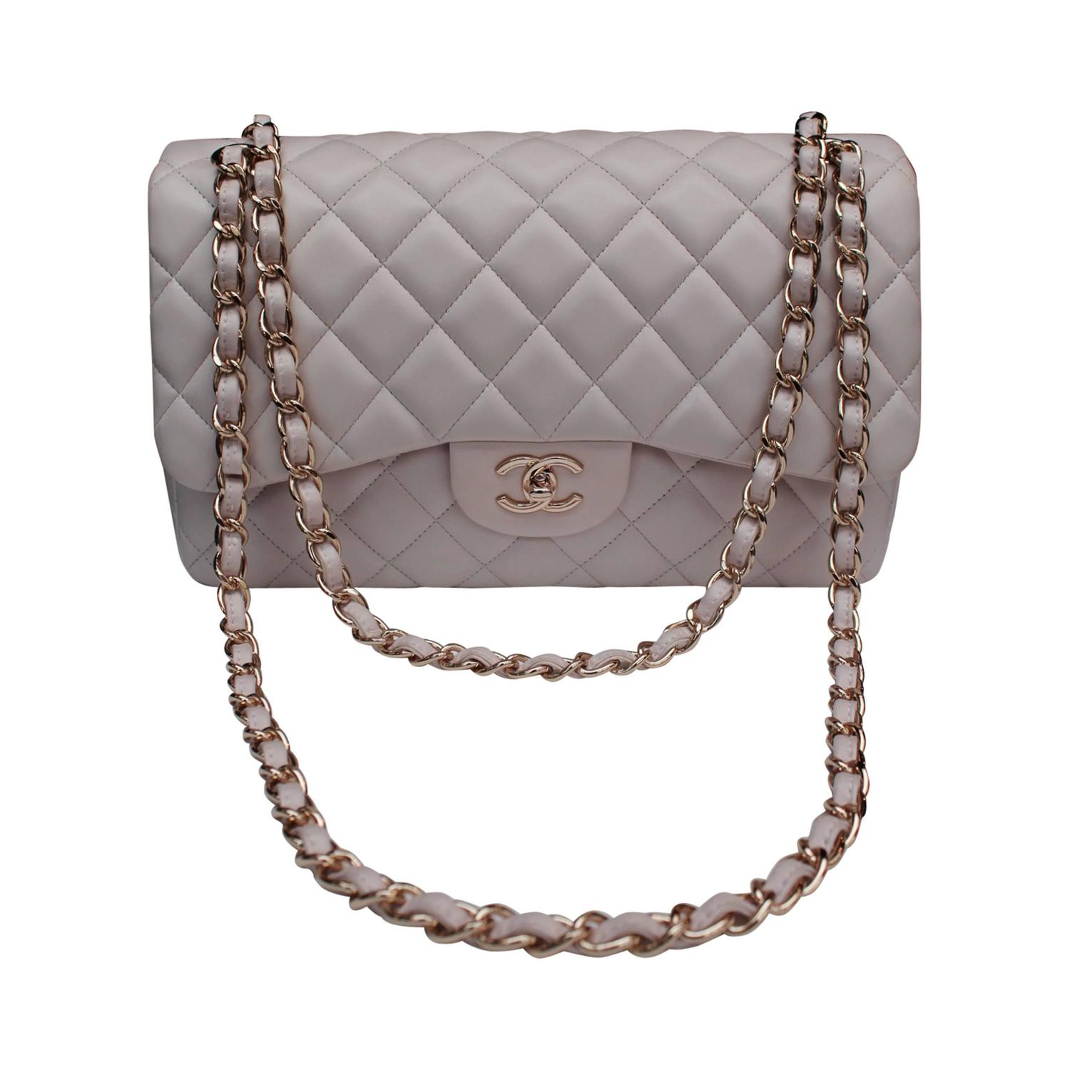 Chanel Light Pink Double Flap Jumbo Handbag with Rose Gold Chain ...
