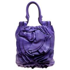 Valentino Purple Leather Petale Shopper Tote